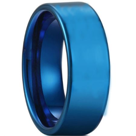COI Blue Titanium Pipe Cut Flat Ring - JT3709