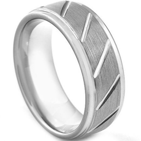 COI Titanium Diagonal Grooves Step Edges Ring - 3045
