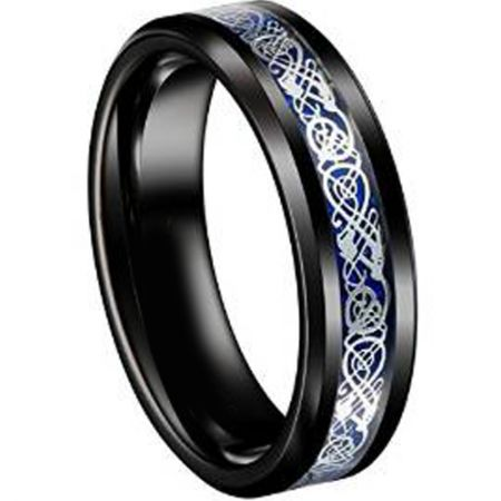 COI Black Titanium Dragon Beveled Edges Ring - JT3058