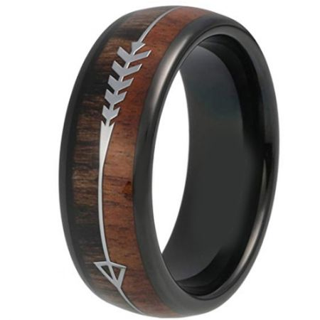 COI Black Titanium Dome Court Ring With Wood & Arrows - 319