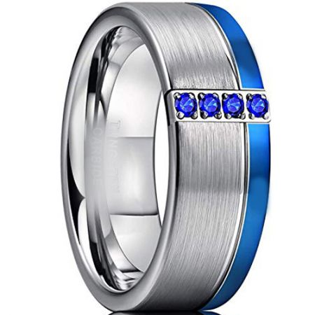 COI Titanium Blue Silver Ring With Created Blue Sapphire-3316