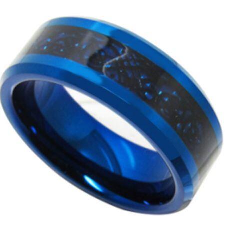COI Titanium Black Blue Dragon Beveled Edges Ring - JT3353
