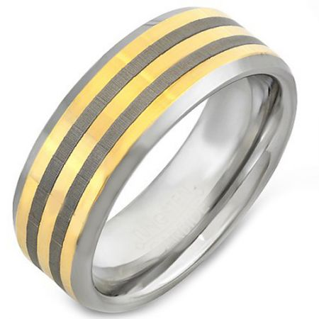 COI Titanium Gold Tone Silver Double Lines Ring-JT3390