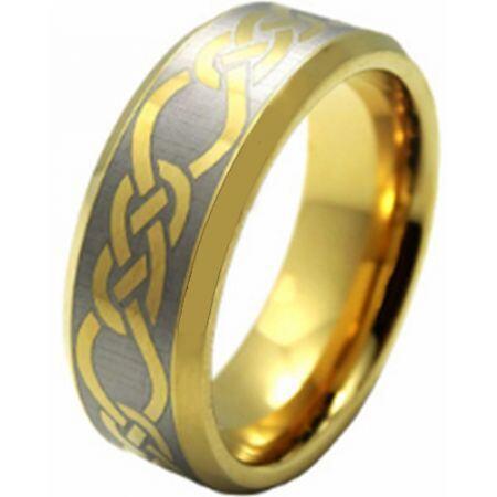 COI Gold Tone Titanium Celtic Beveled Edges Ring - JT3478