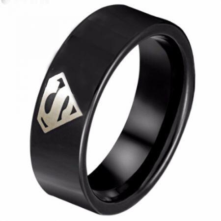 COI Black Titanium SuperMan Pipe Cut Flat Ring - JT3526AA