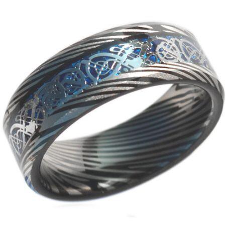 *COI Titanium Dragon Damascus Beveled Edges Ring - JT3692