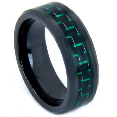 COI Black Titanium Beveled Edges Ring With Carbon Fiber - 824