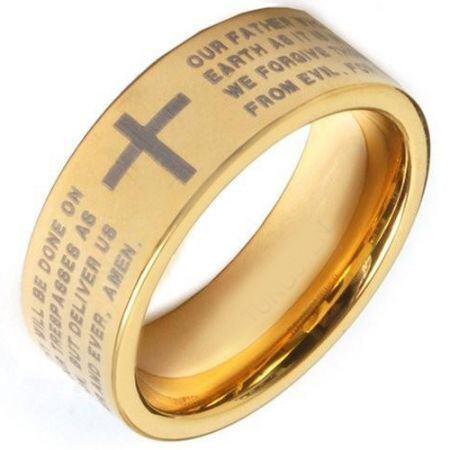 COI Gold Tone Titanium Cross Prayer Pipe Cut Flat Ring - 371