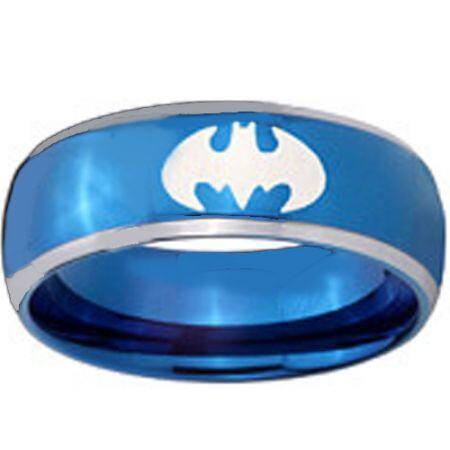 *COI Titanium Blue Silver Batman Beveled Edges Ring - JT1983A