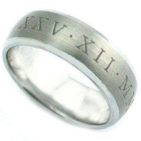 COI Titanium Beveled Edges Custom Roman Numerals Ring-4076