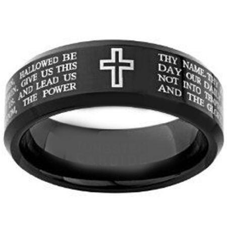 COI Black Titanium Cross Prayer Beveeld Edges Ring-4148