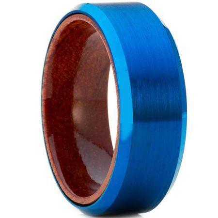 COI Blue Titanium Beveled Edges Ring With Wood - JT4125
