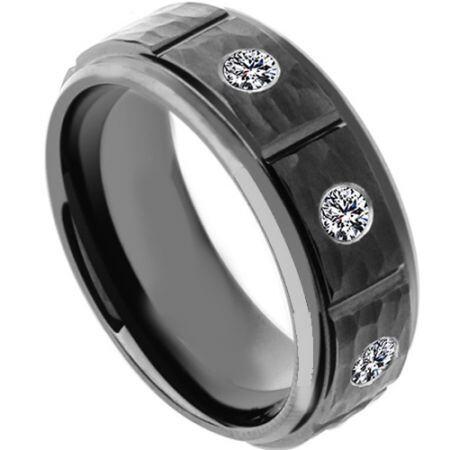 COI Black Titanium Hammered Ring With Cubic Zirconia - 4181