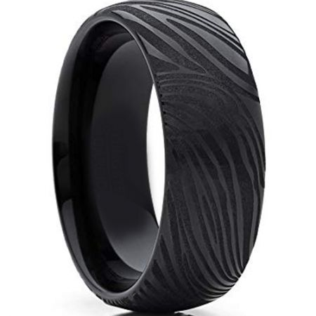 COI Black Titanium Damascus Dome Court Ring - 4281