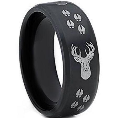 COI Black Titanium Deer Head & Track Beveled Edges Ring-JT3608