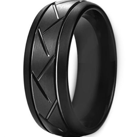 COI Black Titanium Tire Tread Double Grooves Ring - JT3619