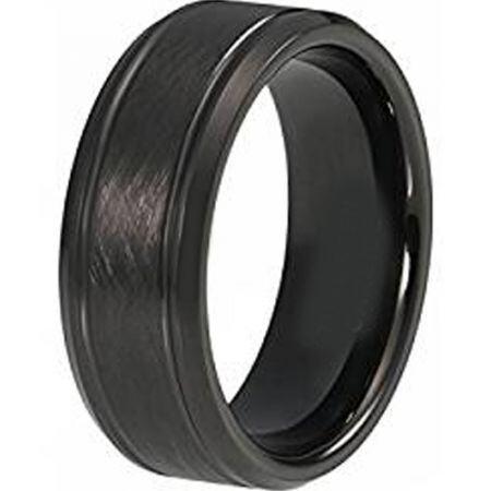 COI Black Titanium Sandblasted Double Grooves Ring - JT3632
