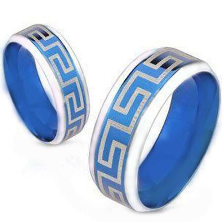 COI Titanium Blue Silver Greek Key Beveled Edges Ring-4648