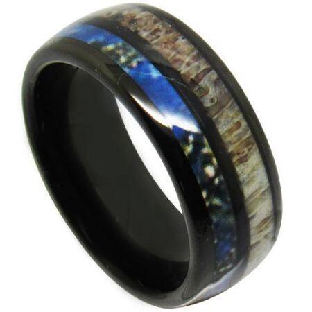COI Black Titanium Deer Antler & Blue Wood Dome Court Ring-3986