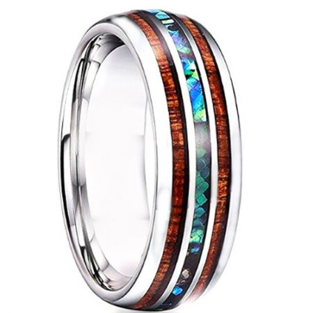 *COI Titanium Wood & Abalone Shell Dome Court Ring - 4727