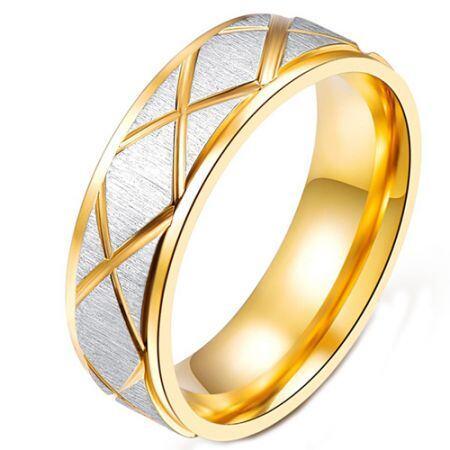 COI Titanium Gold Tone Silver Step Edges Ring-5240
