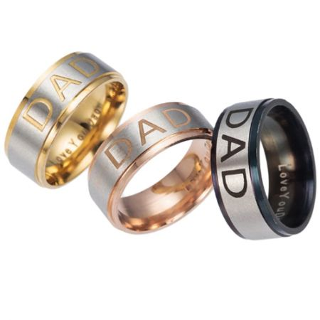 COI Titanium Rose/Gold Tone/Black Silver Daddy Step Edges Ring With Custom Engraving-5249