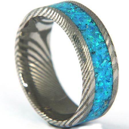 COI Titanium Damascus Beveled Edges Ring With Crushed Opal-5318