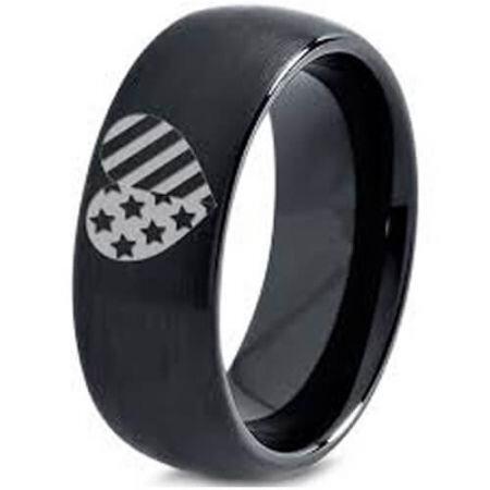COI Black Titanium American Heart Dome Court Ring-5334