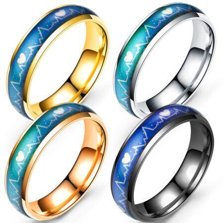 COI Titanium Heartbeat Beveled Edges Ring-5424