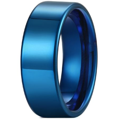 COI Blue Titanium 12mm Pipe Cut Flat Ring-5429