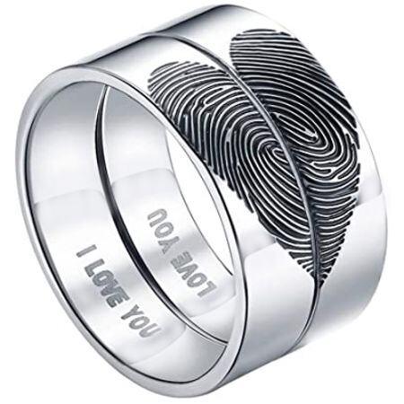 COI Titanium Custom Heart Fingerprint Pipe Cut Flat Ring-5431