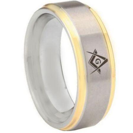 COI Titanium Gold Tone Silver Masonic Step Edges Ring-5442