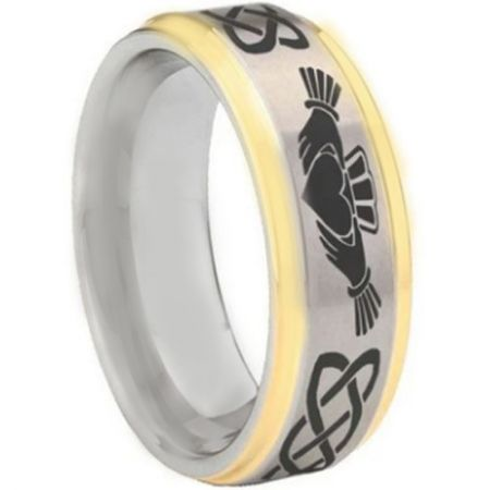 COI Titanium Gold Tone Silver Mo Anam Cara Celtic Step Edges Ring-5443