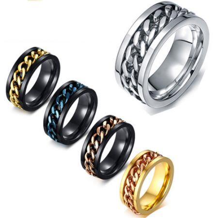 **COI Titanium Black Rose/Black Gold Tone/Black Blue/Gold Tone/Silver Chain Link Ring-5569