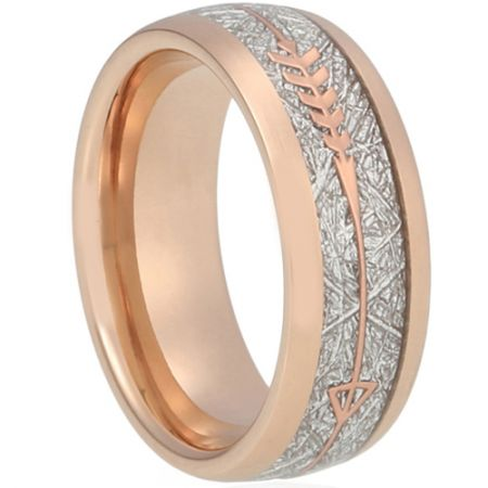 COI Rose Titanium Dome Court Ring With Meteorite and Arrows-5619