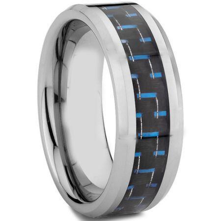 COI Titanium Beveled Edges Ring With Carbon Fiber - 572