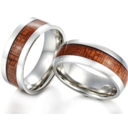 COI Titanium Wood Pipe Cut Flat Ring-JT5769