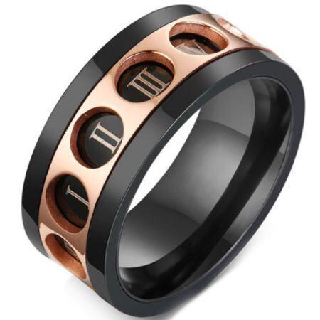 COI Titanium Black Rose Ring With Roman Numerals-5774