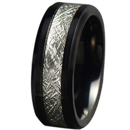 COI Black Titanium Meteorite Beveled Edges Ring-JT5779