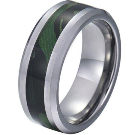COI Titanium Camo Beveled Edges Ring-JT5781