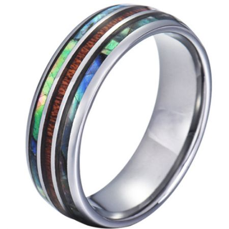 COI Titanium Abalone Shell and Wood Dome Court Ring-JT5785