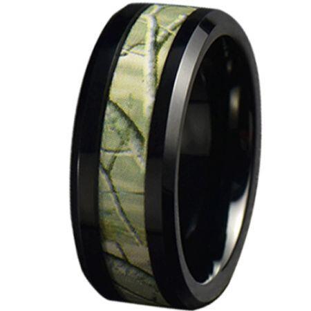 COI Black Titanium Camo Beveled Edges Ring-JT5787