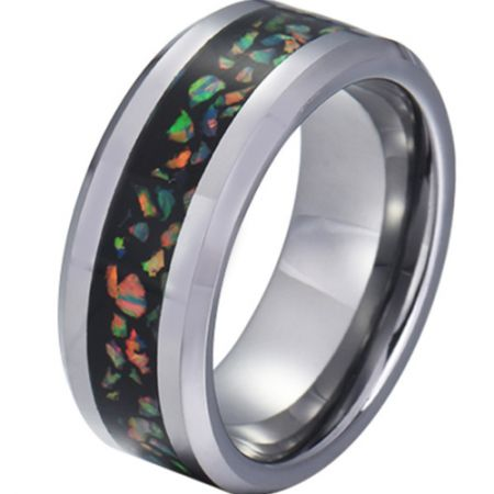 COI Titanium Crushed Opal Beveled Edges Ring-JT5791