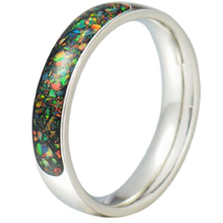 COI Titanium Crushed Opal Dome Court Ring-JT5793