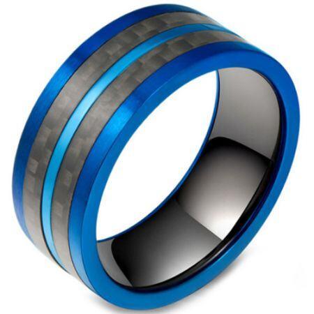 **COI Titanium Black Blue Pipe Cut Flat Ring With Carbon Fiber-5800