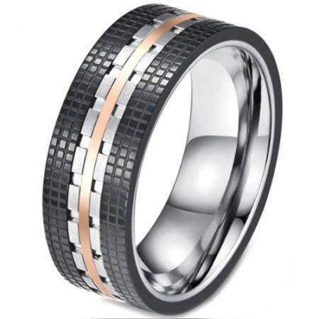 **COI Titanium Black Rose Tire Tread Ring-5814