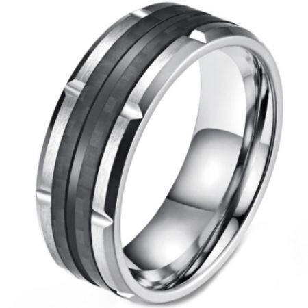 **COI Titanium Black Silver Tire Tread Ring-5819