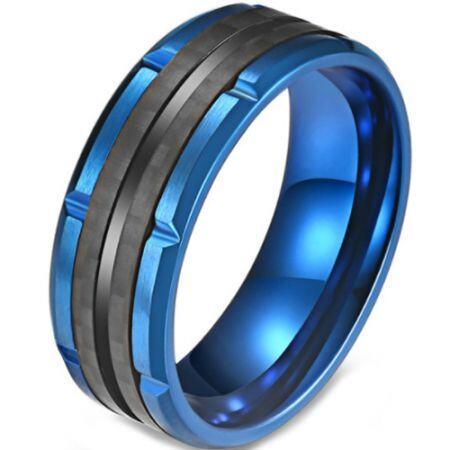 *COI Titanium Blue Black Tire Tread Ring-5820