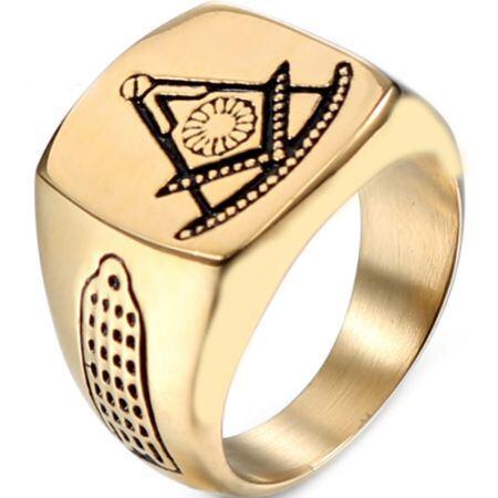 *COI Titanium Gold Tone Masonic Signet Ring-6011