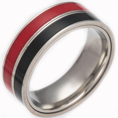 *COI Titanium Ring With Red Black/Black White/Red Blue/White Blue Ceramic-6837